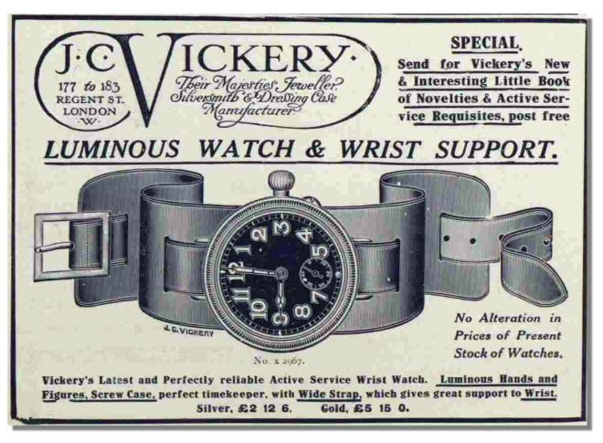 The wristwatch, ususally worn by women, came into its own during the First World War. J C Vickery imported watches and straps that were very popular.